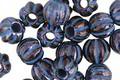 Czech Glass Dark Bronze w/ Blue Large Hole Melon Round 8mm