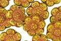 Czech Glass Bronzed Mustard Seed Wild Rose Coin 13mm