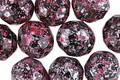 Czech Fire Polished Glass Jet w/ Silver & Metallic Pink Flecks Round 10mm