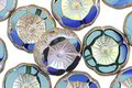 Czech Glass Sapphire AB w/ Antique Silver Hibiscus Coin 12mm