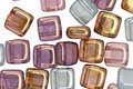 Czech Glass Luster Transparent Amethyst & Blue 2-Hole Tile 6mm