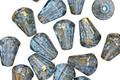 Czech Glass Aquamarine w/Gold Flecks Faceted Drop 8x6mm