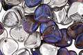 Czech Glass Matte Blue Cosmos & 1/2 Silver Petal Drop 8x7mm