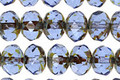 Czech Glass Tanzanite Light Picasso Fire Polished Rondelle 6x9mm