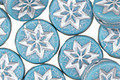 Czech Glass Alice Blue w/ Silver Starflower Coin 12mm