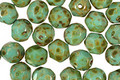 Czech Fire Polished Glass Turquoise Picasso Round 6mm