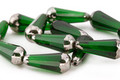 Czech Glass Emerald w/ Silver Faceted Teardrop 20x8mm