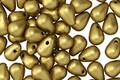Czech Glass Matte Metallic Aztec Gold Teardrop 4x6mm