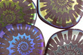 Czech Glass Laser Etched Ammonite on Eggplant w/ Rainbow Finish Freeform Coin 19mm