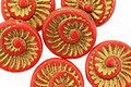 Czech Glass Barn Red w/ Gold Ammonite Coin 18mm