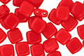 CzechMates Glass Opaque Red 2-Hole Tile 6mm