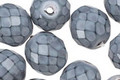 Czech Fire Polished Glass Grey Round Snake Beads 12mm