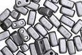 CzechMates Glass Pearl Coat Silver 2-Hole Brick 3x6mm
