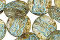 Czech Glass Light Amber Picasso w/ Blue Wash Owl Coin 14mm