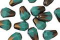 Czech Glass Bronzed Turquoise Drop 8x6mm
