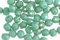 Czech Glass Turquoise w/ Silver Luster Fire Polished Round 4mm