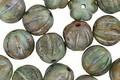 Czech Glass Jungle Green Picasso Melon Round 8mm