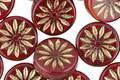 Czech Glass Oxblood w/ Bronzed Daisy Coin 12mm