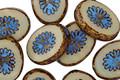 Czech Glass Beige w/ Turquoise Oval Star Window 14x10mm