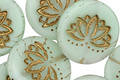 Czech Glass Matte Bronzed Mint Lotus Coin 18mm