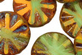 Czech Glass Citrus Zest Flower Window Coin 18mm
