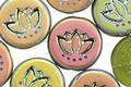 Czech Glass Matte Olivine w/ Rainbow Finish Lotus Coin 14mm