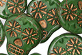 Czech Glass Emerald Isle w/ Bronze Sugar Skull 20x17mm