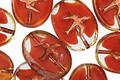 Czech Glass Crystal/Rustic Red Oval w/ Soaring Bird 15x11mm