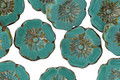 Czech Glass Persian Turquoise Picasso Hibiscus Coin 12mm
