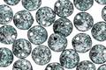 Czech Glass Emerald & Jet w/ Silver Flecks Top Drilled Lentil 6mm