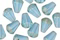Czech Glass Aquamarine w/ Silver Luster Bottom Faceted Drop 8x6mm