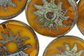 Czech Glass Pumpkin Picasso Sun Coin 22mm