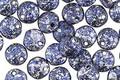 Czech Glass Sapphire w/ Silver Flecks Top Drilled Lentil 6mm