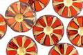 Czech Glass Campfire Picasso w/ Gold Flower Window Coin 12mm