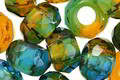 Czech Glass Seaweed Large Hole Fire Polished Rondelle 8x12mm