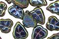 Czech Glass Iris Green Leaves 11x9mm