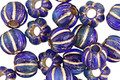 Czech Glass Blue Nile w/ Gold Large Hole Melon Round 8mm