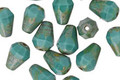 Czech Glass Persian Turquoise Picasso Faceted Drop 8x6mm