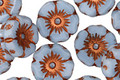Czech Glass Powder Blue w/ Copper Hibiscus Coin 12mm