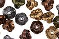 Czech Glass Autumn Metallics Bellflower 5x7mm