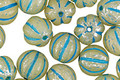 Czech Glass Sage w/ Blue & Mercury Finish Melon Round 8mm