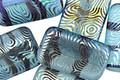 Czech Glass Laser Etched Groovy Swirls on Aquamarine w/ Rainbow Finish Rectangle 19x12mm