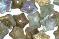 Czech Glass Matte Textured Sea Green w/ Gold AB Finish 5 Point Bellflower 5x9mm