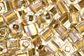 TOHO Crystal (with Gold Lining) Cube 3mm Seed Bead