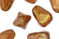 Czech Glass Caramel Opal w/ Gold Luster Nugget Drop 10x12mm