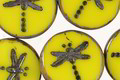 Czech Glass Lemon Picasso Dragonfly Coin 17mm