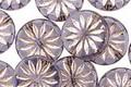 Czech Glass Tanzanite w/ Silver Daisy Coin 12mm
