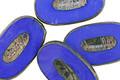 Czech Glass Indigo Picasso Carved Oval 26x15mm