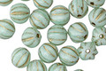 Czech Glass Mint Green w/Gold Melon Round 6mm
