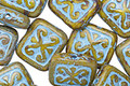 Czech Glass Pearlized Mustard Picasso w/ Blue Ornamental Rectangle 11x12mm